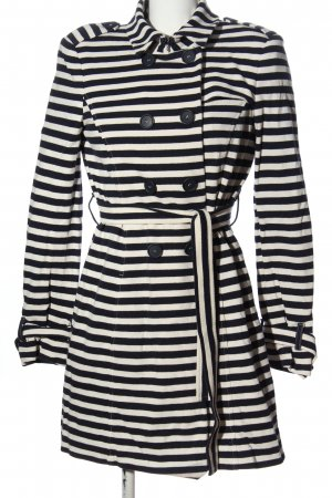 Sienna Heavy Pea Coat black-white striped pattern casual look
