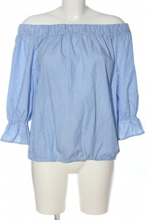 Sienna Carmen-Bluse weiß-blau Allover-Druck Casual-Look