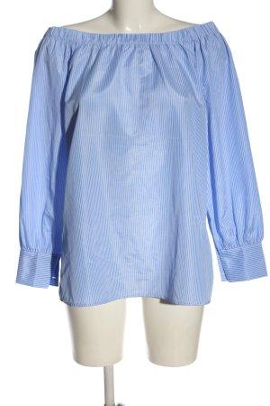 Sienna Blusa alla Carmen blu-bianco motivo a righe stile casual