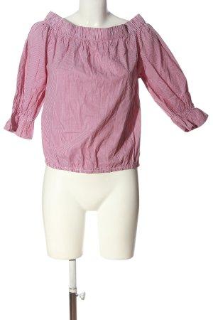 Sienna Blusa alla Carmen rosso-bianco motivo a righe stile casual