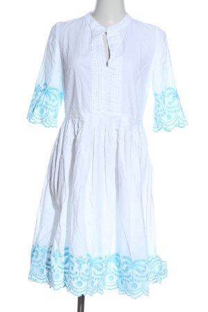 Sienna Abito a maniche corte bianco-blu caratteri ricamati stile casual