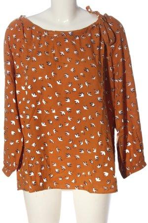 Sienna Camicetta a maniche lunghe arancione chiaro-bianco stampa integrale