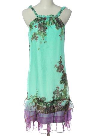 Sienna Abito di chiffon turchese-lilla motivo floreale elegante