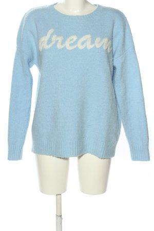 Sienna Jersey de punto azul-crema letras impresas look casual