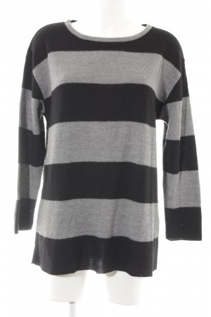 Sienna Strickpullover grau-schwarz Streifenmuster Casual-Look