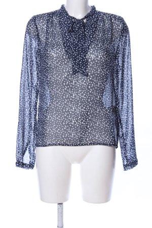 Sienna Transparenz-Bluse blau-weiß Punktemuster Elegant
