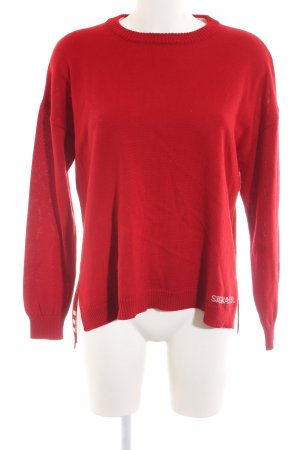 Wool Sweater red printed lettering casual look