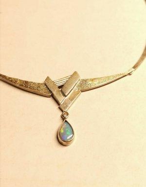 silber 800 Collier Halskette Opal