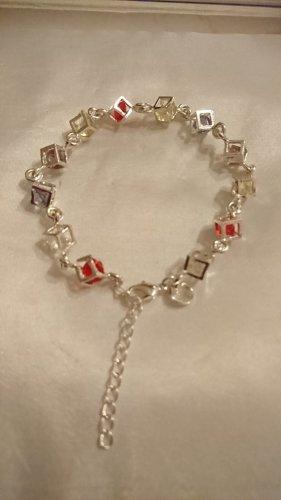 Silber 925 Armband mit Krystallsteinen 19 cm lang mit Karabiner und Verlängerung ca 5cm