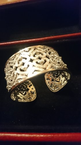 Silber 925 Armreif-Armband 3 cm breit. Herzen m. zirkonia