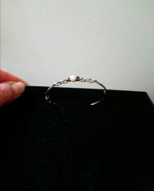 Silber 925 Armspange mit Perle und zwei dunkelgraue Steine