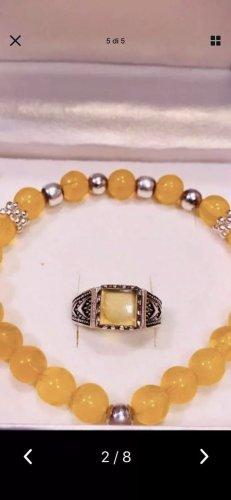 Zilveren ring zilver-abrikoos