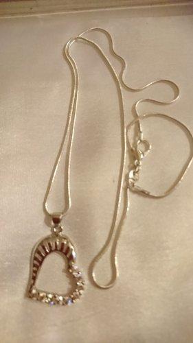 Silber 925 Halskette mit Anhänger Herz ♥ mit Zirkonia Steinchen