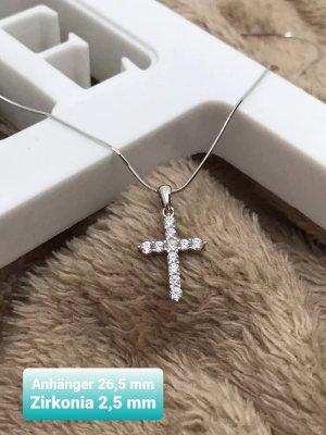 Silber 925 Kreuz Anhänger mit Zirkonia inkl. Kette