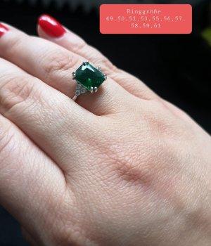 Silber 925 Ring mit grünem Zirkonia (Neu)