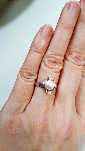 Silber 925 Ring mit Perle / Zirkonia Stein Gr 14