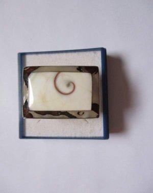 Silber 925 Ring mit Perlmutt und Age stone