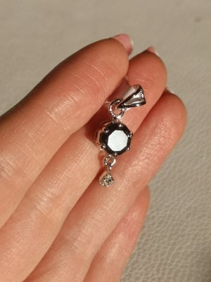 Silber Anhänger, Roh Diamanten