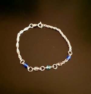 925er Silber Pulsera azul neón-azul claro