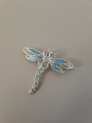 Brooch silver-colored-light blue