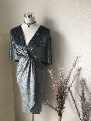 Silber blaues Wickelkleid aus Samt