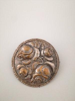 silber-bronzefarbene Brosche vintage