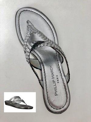 SILBER! Damen-Zehentrenner aus Leder von PHILLIP HARDY schlicht und elegant