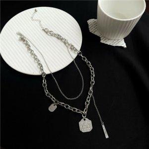 Silber Doppelkettige moderne statement coole Halskette mit Polygon Quasten Kette Anhänger