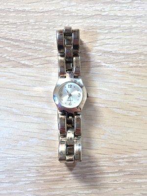 Horloge met metalen riempje zilver-wit Gemengd weefsel