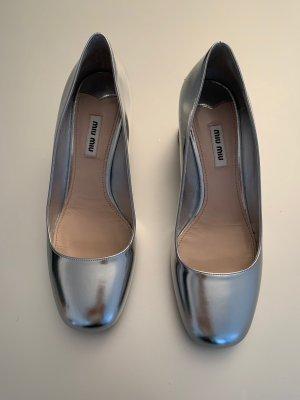 MiuMiu Loafers silver-colored leather