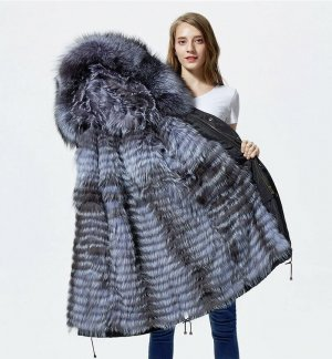 Veste de fourrure noir-argenté