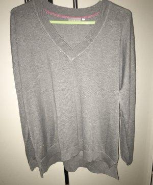 Canda V-Neck Sweater light grey mixture fibre
