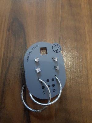 Silber glitzer Ohrring-Set