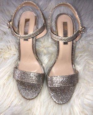 Silber Gold Glitzer Sandalette mit Absatz