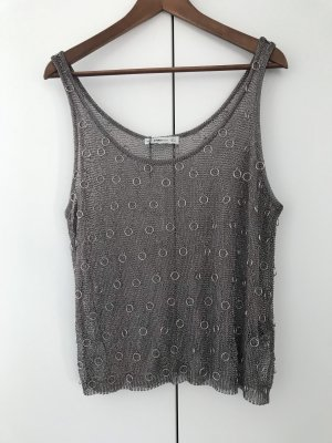 Zara Knit Top de ganchillo gris-color plata