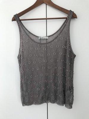 Zara Knit Top a uncinetto grigio-argento