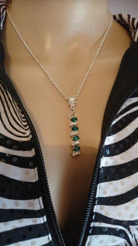 Silber Halskette mit Anhänger, Collier grüne  und klare Strassteine