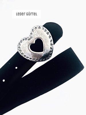 Silber Herz Metal Leder schwarz Gürtel Tracht Vintage love | true | 42-42