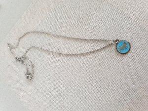 Silber Kette Tier Blau Anhänger Halsschmuck Halskette Schmuck