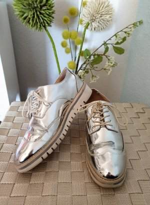 silber, metallic Halbschuhe, Schnürschuhe von Zara