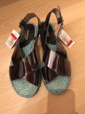 Pimientos Sandalias de tiras color plata-azul claro