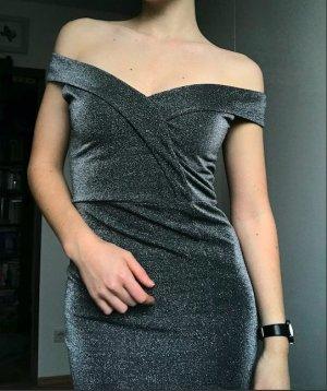 Silber Off the Shoulder Elegant Kleid NEU