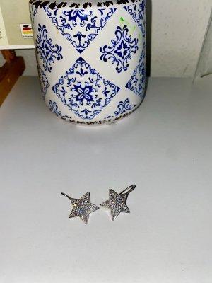 Srebrne kolczyki srebrny-biały