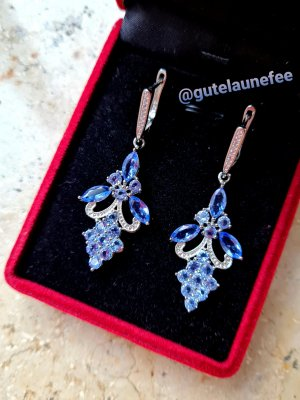 Silber Ohrringe mit blau-violetten Tanzanit Steinen * 925 Sterling Silber gestempelt