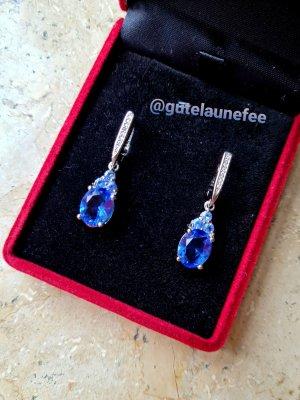 Silber Ohrringe mit blauen Tanzanit Steinen* 925 Sterling Silber gestempelt