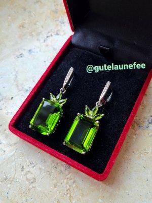 Silber Ohrringe mit großen grünen Peridot Steinen * 925 Sterling Silber gestempelt