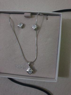 Silber Ohrringe mit Kette