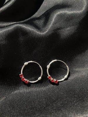 echt Silber 925 Boucles d'oreilles en argent argenté-rouge