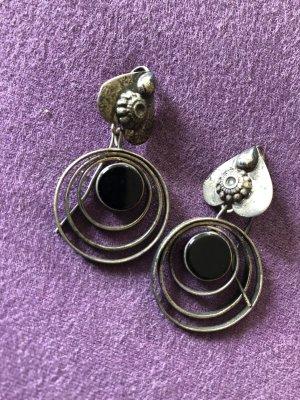 Silber Ohrringe mit schwarzem Schmuckstein