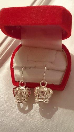 Silber Ohrringe Ohrhacken  mit Krone Anhänger